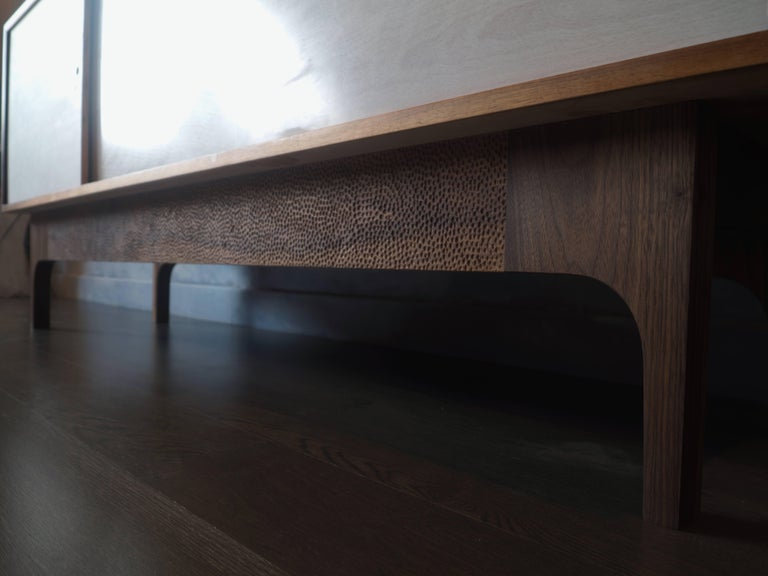 Modern Eclipse Sideboard by MSJ Furniture Studio, Walnut Case with Sliding Beech Doors For Sale