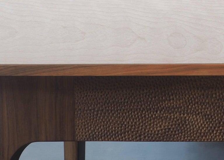 Contemporary Eclipse Sideboard by MSJ Furniture Studio, Walnut Case with Sliding Beech Doors For Sale