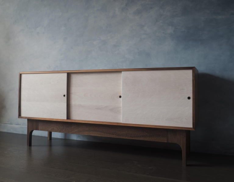 Carved Eclipse Sideboard by MSJ Furniture Studio, Walnut Case with Sliding Beech Doors For Sale