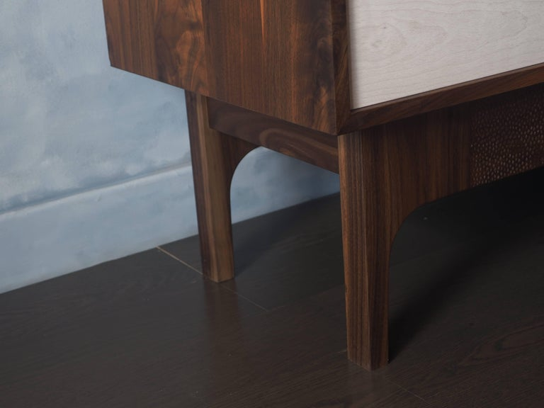 Contemporary Walnut Sideboard with Bleached Beach Doors and Hand-Carved Base For Sale