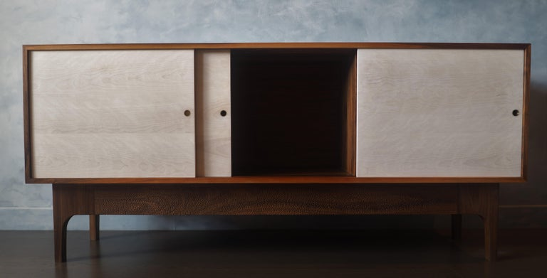 Eclipse Sideboard by MSJ Furniture Studio, Walnut Case with Sliding Beech Doors In New Condition For Sale In Vancouver, BC