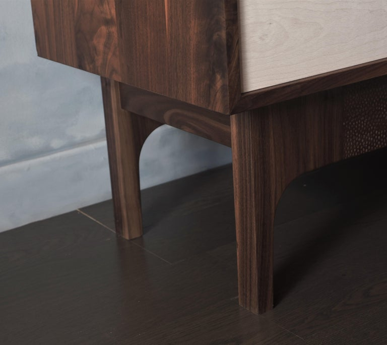Brass Eclipse Sideboard by MSJ Furniture Studio, Walnut Case with Sliding Beech Doors For Sale