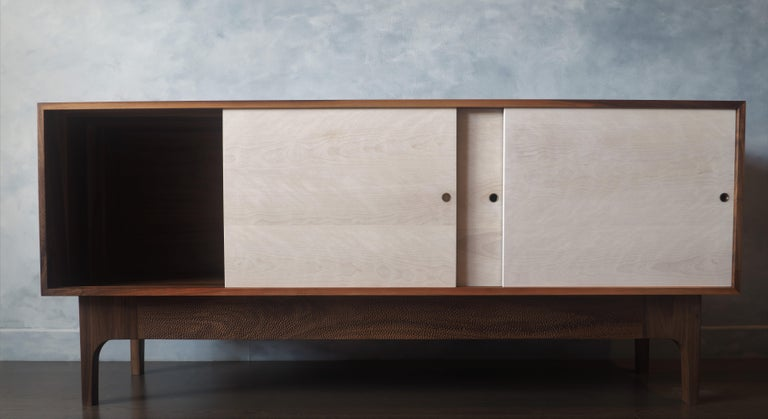 Walnut Sideboard with Bleached Beach Doors and Hand-Carved Base For Sale 2