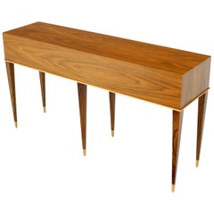 Walnut Six-Legged Console Table on Tapered Legs Parzinger Style