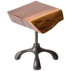 Walnut Slab Side Table, Cast Aluminum Base, Hand Carved Jordan Mozer, USA, 2017
