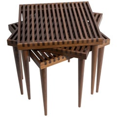 Walnut Slatted Stacking Tables by Mel Smilow