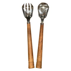 Walnut & Stainless Steel Art Deco Salad Servers by Chase & Co.