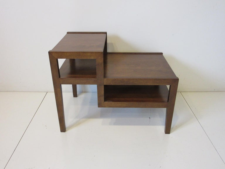 Mid-Century Modern Walnut Step Side Table by Leslie Diamond for Conant Ball For Sale