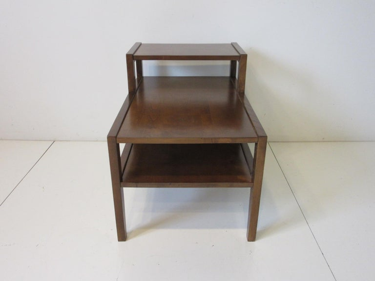 American Walnut Step Side Table by Leslie Diamond for Conant Ball For Sale