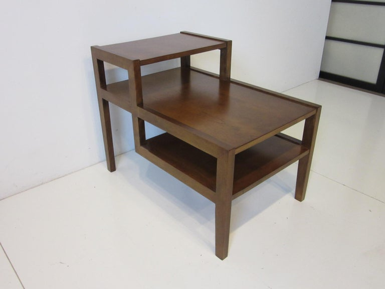 Walnut Step Side Table by Leslie Diamond for Conant Ball In Good Condition For Sale In Cincinnati, OH