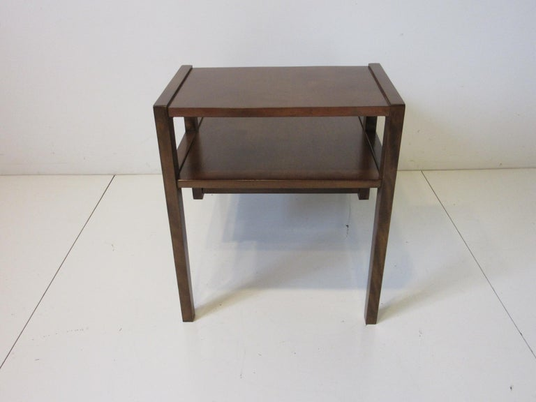 20th Century Walnut Step Side Table by Leslie Diamond for Conant Ball For Sale