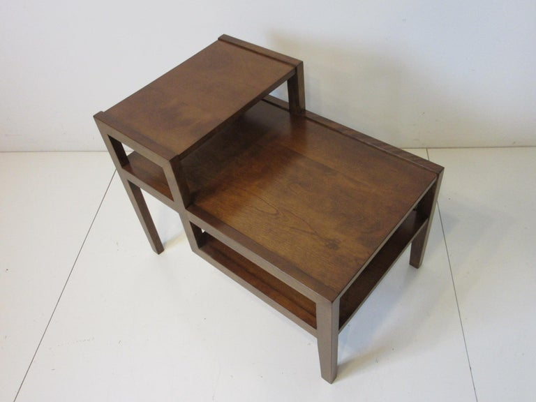 Wood Walnut Step Side Table by Leslie Diamond for Conant Ball For Sale