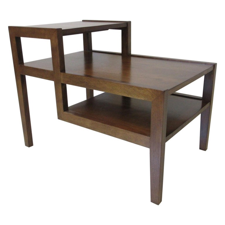 Walnut Step Side Table by Leslie Diamond for Conant Ball For Sale