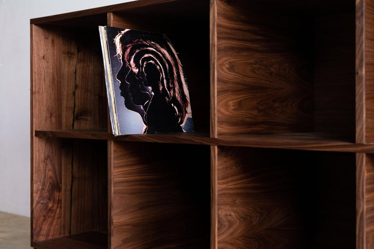 Audio Storage Credenza for Vinyl Records Walnut Wood with Black Steel Base For Sale 4