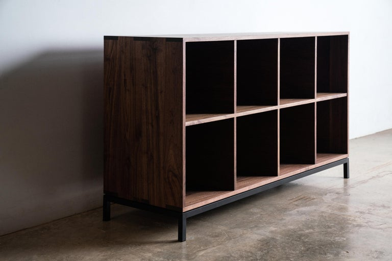 American Craftsman Audio Storage Credenza for Vinyl Records Walnut Wood with Black Steel Base For Sale