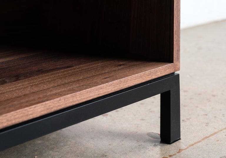 Welded Audio Storage Credenza for Vinyl Records Walnut Wood with Black Steel Base For Sale