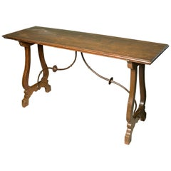 "Walnut Table 'for ""Bargueño"" or Spanish Desk' with Wrought Iron Fittings"