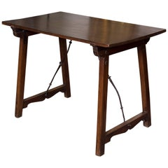 Walnut Table with Wrought Iron Parts, Spain, 17th Century