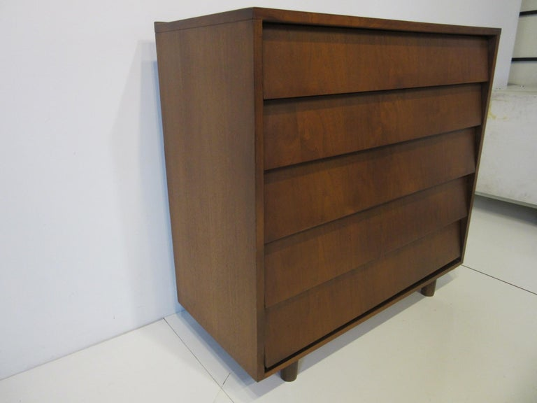 Mid-Century Modern Walnut Tall Dresser/ Chest in the Style of Knoll For Sale