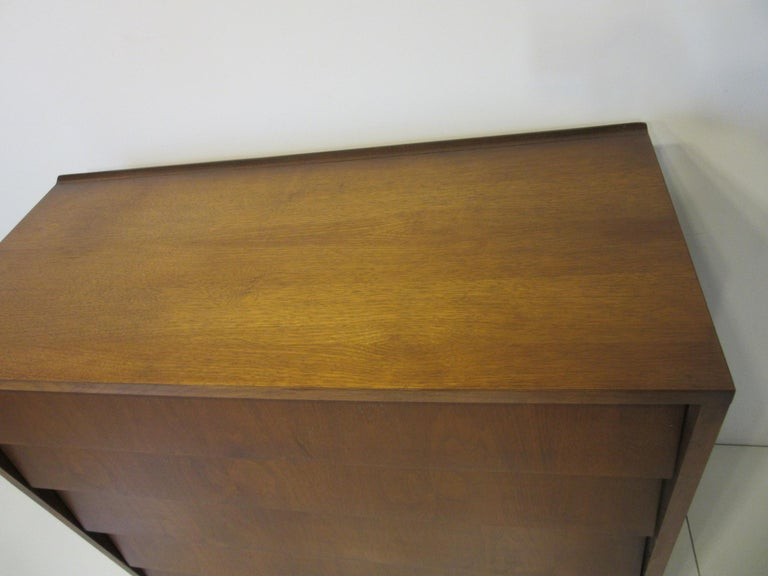 North American Walnut Tall Dresser/ Chest in the Style of Knoll For Sale