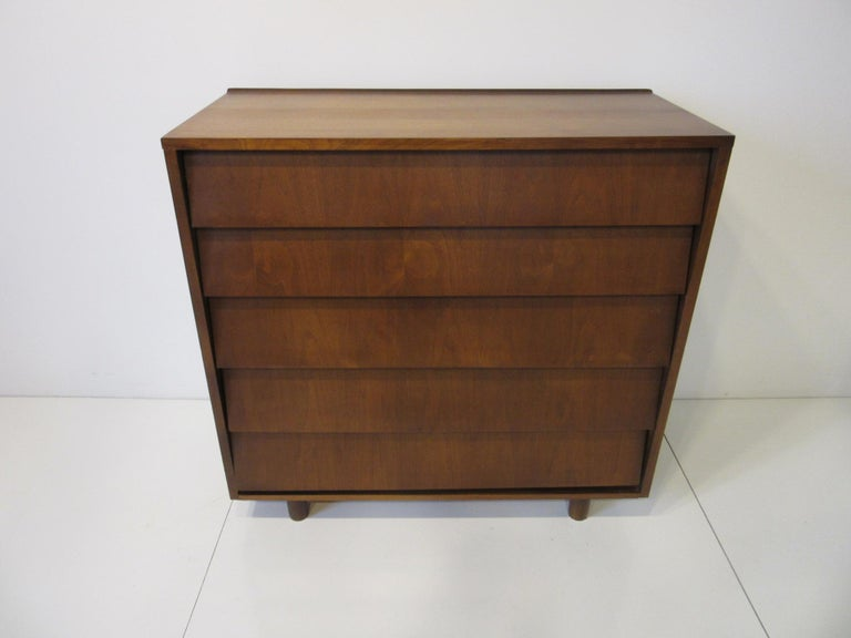 20th Century Walnut Tall Dresser/ Chest in the Style of Knoll For Sale