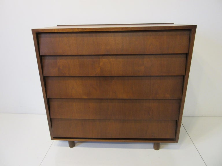 Walnut Tall Dresser/ Chest in the Style of Knoll For Sale 1