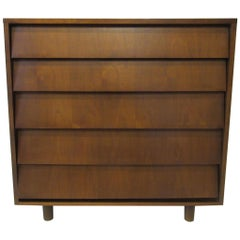 Walnut Tall Dresser/ Chest in the Style of Knoll