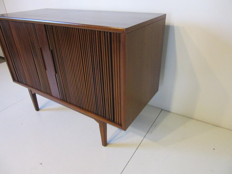 Mid Century Modern Walnut Tambour Door Media Or Stereo Cabinet For