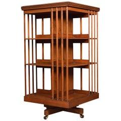 Walnut Three-Tier Revolving Bookcase