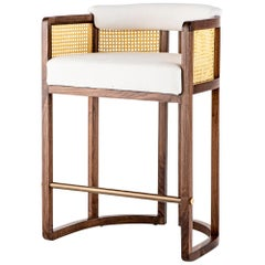 Walnut Timber, Rattan, Solid Brass and Leather Livingston Bar Stool