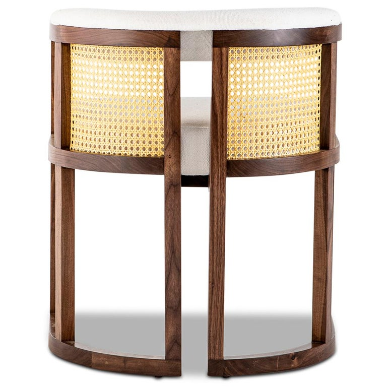 Modern Walnut Timber, Rattan, Solid Brass and Leather Livingston Dining Room Chair For Sale