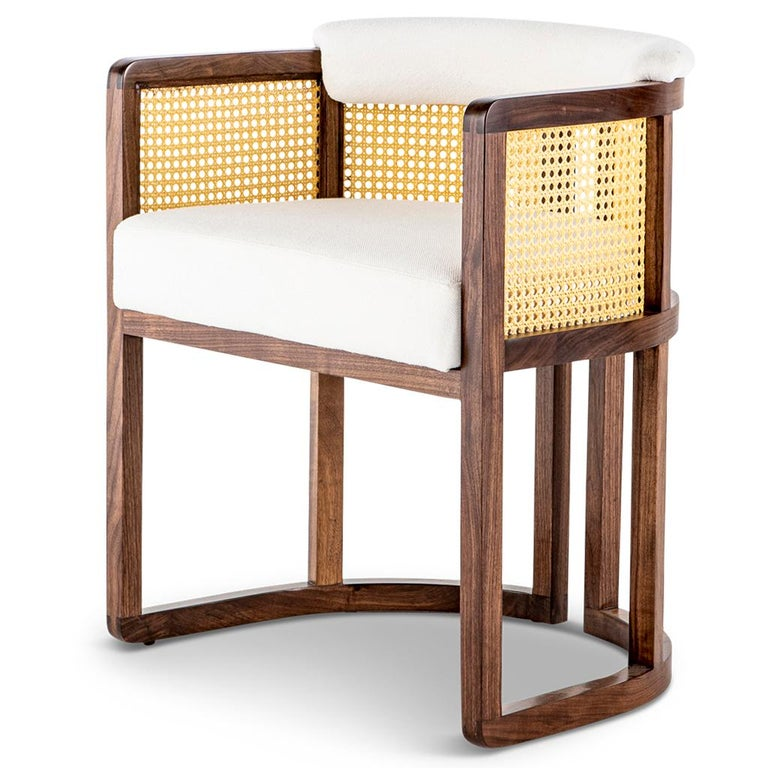 Walnut Timber, Rattan, Solid Brass and Leather Livingston Dining Room Chair In New Condition For Sale In Bothas Hill, KZN
