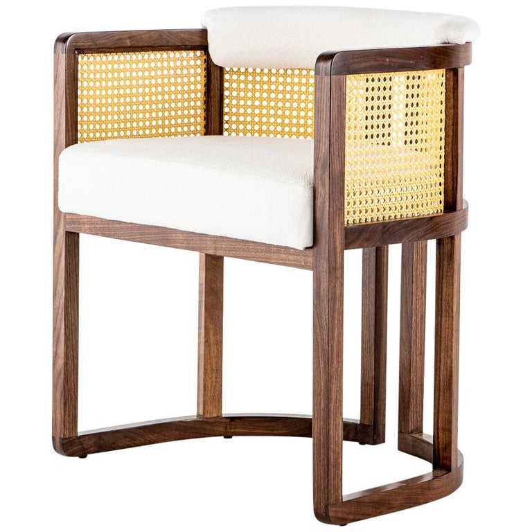 Walnut Timber, Rattan, Solid Brass and Leather Livingston Dining Room Chair For Sale