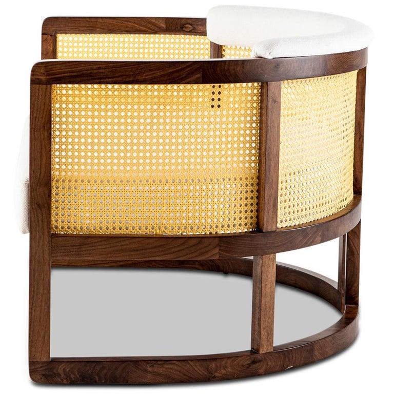 Modern Walnut Timber, Rattan and Linen Livingston Lounge Chair