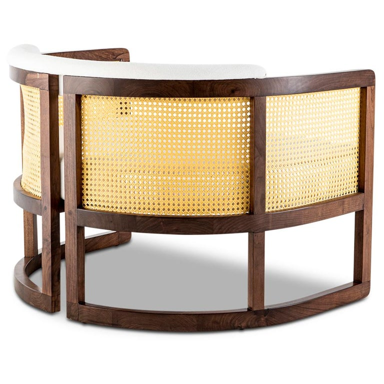 South African Walnut Timber, Rattan and Linen Livingston Lounge Chair