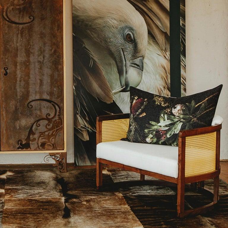 Brass Walnut Timber, Rattan and Linen Livingston Lounge Chair