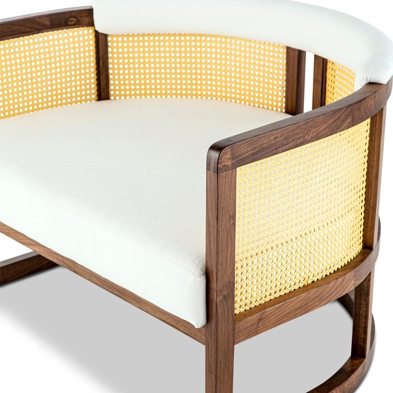 Walnut Timber, Rattan and Linen Livingston Lounge Chair 1