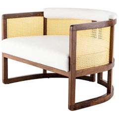 Walnut Timber, Rattan, Solid Brass and Leather Livingston Lounge Chair