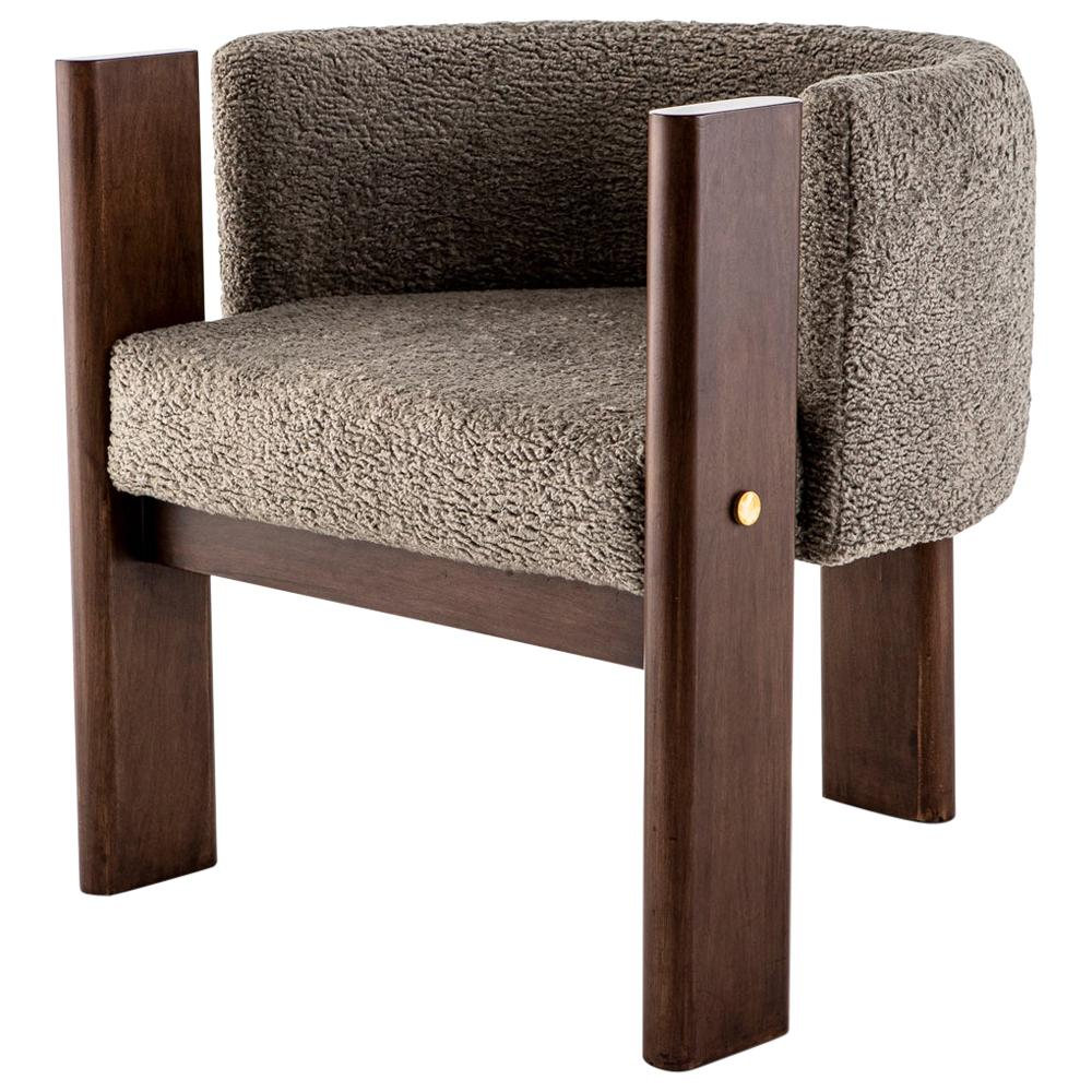 Modern, Walnut Timber, Solid Brass and Boucle' Malta Dining and Lounge Chair