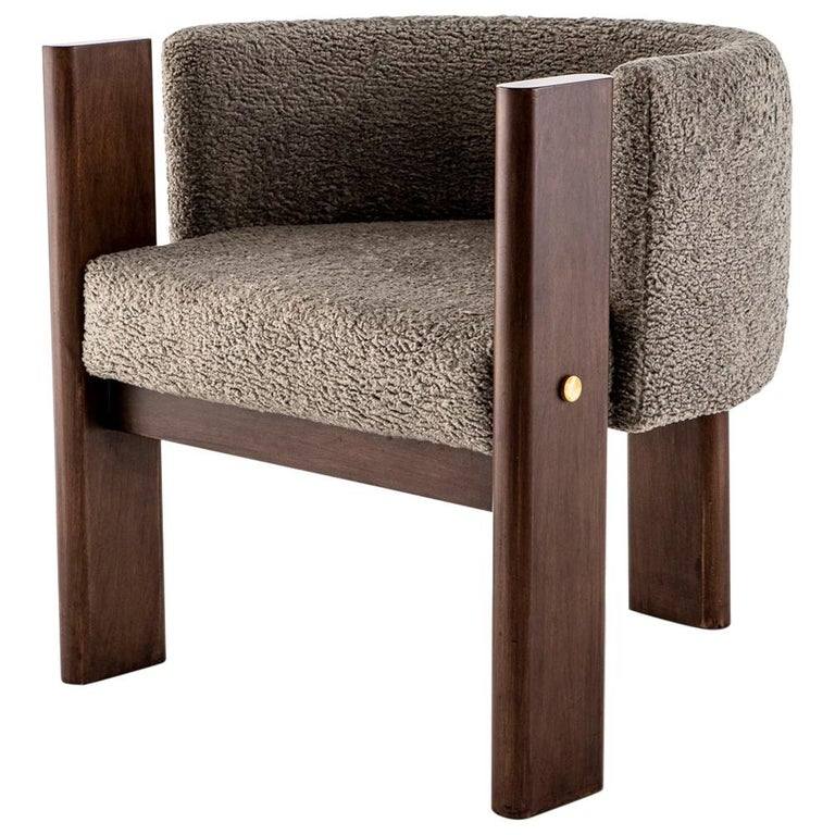 Walnut Timber, Solid Brass and Boucle' Malta Dining and Lounge Chair For Sale