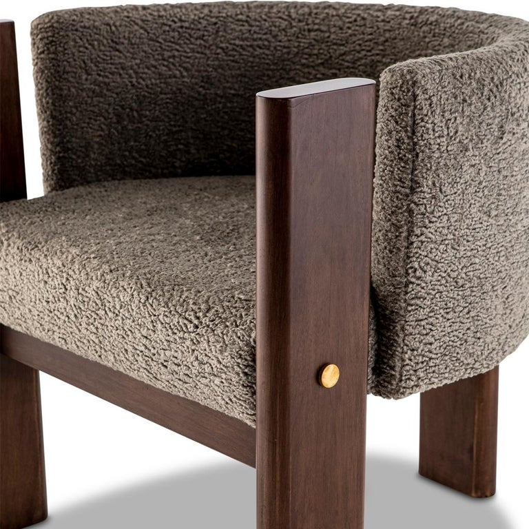 Contemporary Walnut Timber, Solid Brass and Boucle' Malta Dining and Lounge Chair For Sale