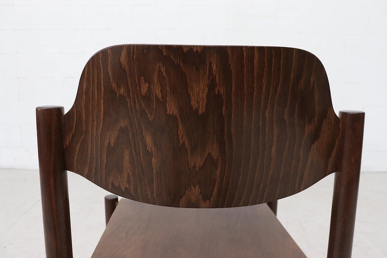 Walnut Toned Vico Magistretti Style Stacking Chairs For Sale 4