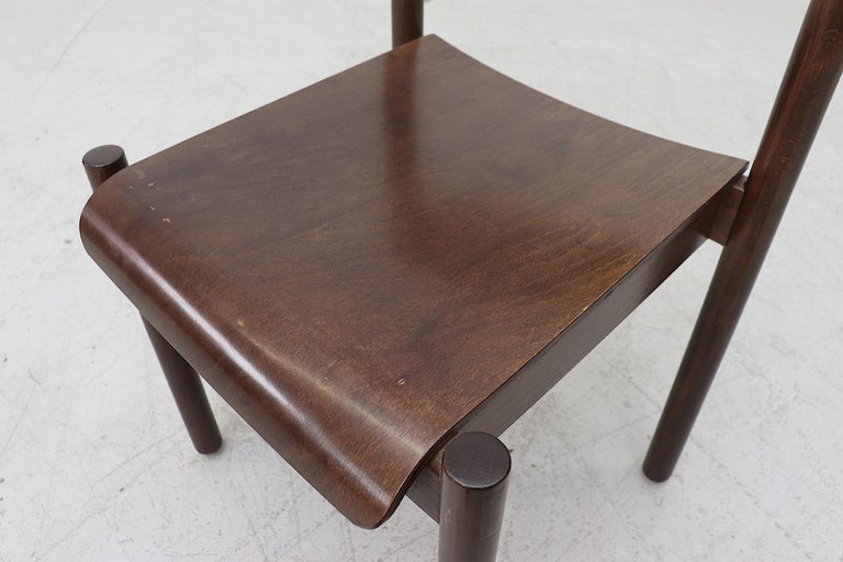 Walnut Toned Vico Magistretti Style Stacking Chairs For Sale 5