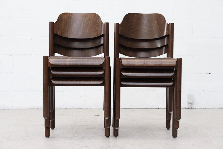 Mid-Century Modern Walnut Toned Vico Magistretti Style Stacking Chairs For Sale