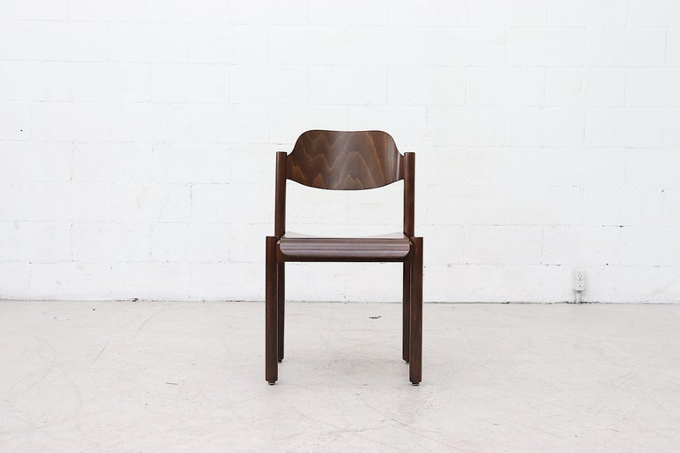 Dutch Walnut Toned Vico Magistretti Style Stacking Chairs For Sale