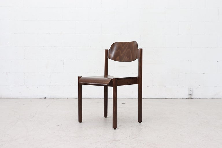 Walnut Toned Vico Magistretti Style Stacking Chairs In Good Condition For Sale In Los Angeles, CA