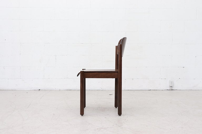 Late 20th Century Walnut Toned Vico Magistretti Style Stacking Chairs For Sale