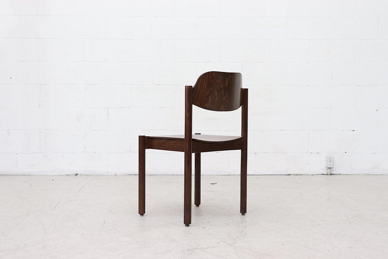 Wood Walnut Toned Vico Magistretti Style Stacking Chairs For Sale