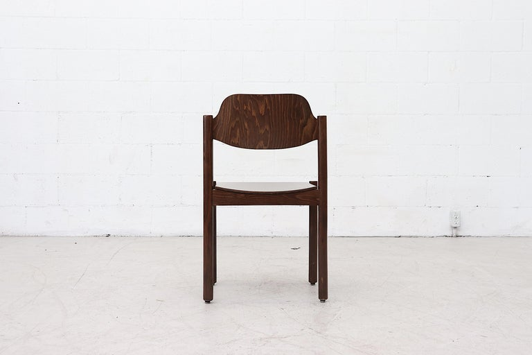 Walnut Toned Vico Magistretti Style Stacking Chairs For Sale 1