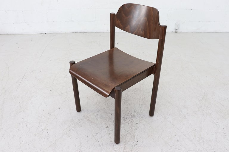 Walnut Toned Vico Magistretti Style Stacking Chairs For Sale 2
